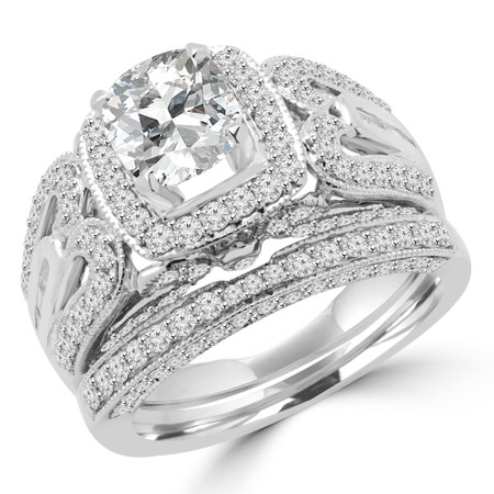 Cushion Cut Diamond Multi-Stone 4-Prong Vintage Halo Engagement Ring & Wedding Band Bridal Set with Round White Diamond Accents in White Gold - #HR6216-A-B-CU-W