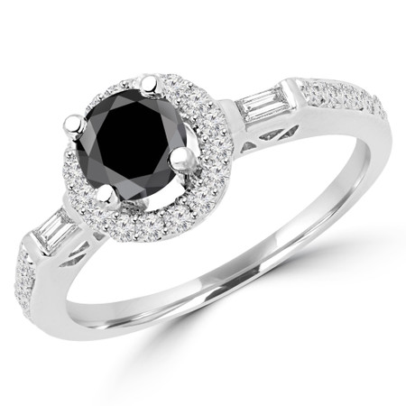 Round Cut Black Diamond Multi-Stone 4-Prong Vintage Halo Engagement Ring with Baguette & Round Cut Diamond Accents in White Gold - #HR6353-BLK-W