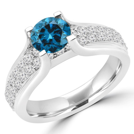 Round Cut Blue Diamond Multi-Stone High-Set 4-Prong Engagement Ring with Round Pave Diamond Accents in White Gold - #HR6424-BLUE-W
