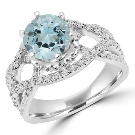 Round Cut Blue Aquamarine Multi-Stone Infinity 6-Prong Vintage Engagement Ring with Round Diamond Accents in White Gold - #HR6519-BLUE-AQUAMARINE-W