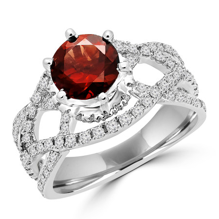 Round Cut Red Garnet Multi-Stone Infinity 6-Prong Vintage Engagement Ring with Round Diamond Accents in White Gold - #HR6519-RED-GARNET-W