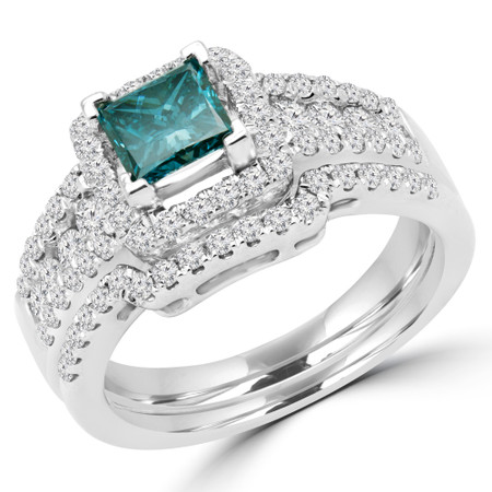 Princess Cut Blue Diamond Multi-Stone V-Prong Vintage Halo Engagement Ring with Round Prong & Channel-Set Diamond Accents in White Gold - #HR6533-A-B-PRINCESS-BLUE-W