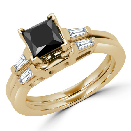 Princess Cut Black Diamond Multi-Stone V-Prong Engagement Ring & Wedding Band Bridal Set with Baguette Cut Diamond Accents in Yellow Gold - #HR8092-A-B-PRINCESS-BLK-Y