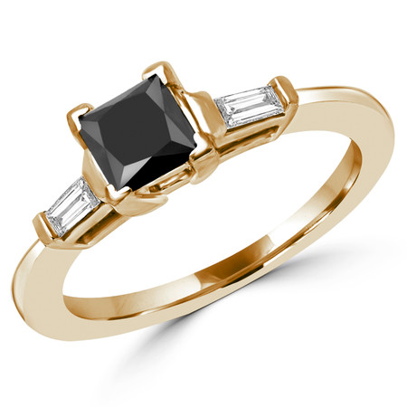 Princess Cut Black Diamond Multi-Stone V-Prong Engagement Ring with Baguette Cut Diamond Accents in Yellow Gold - #HR8092-A-PRINCESS-BLK-Y