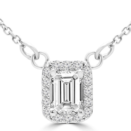 Emerald Cut Diamond Multi-Stone 4-Prong Halo Necklace Pendant with Round Cut Diamond Accents and Chain in White Gold - #IEHT0084P-W