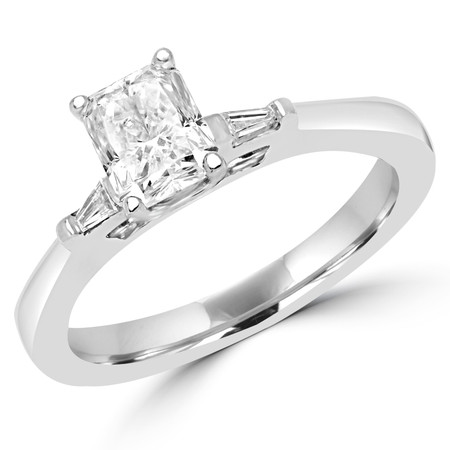 Radiant Cut Three-Stone 4-Prong Engagement Ring with Baguette White Diamond Accents in White Gold - #IFHH7871-RAD-W