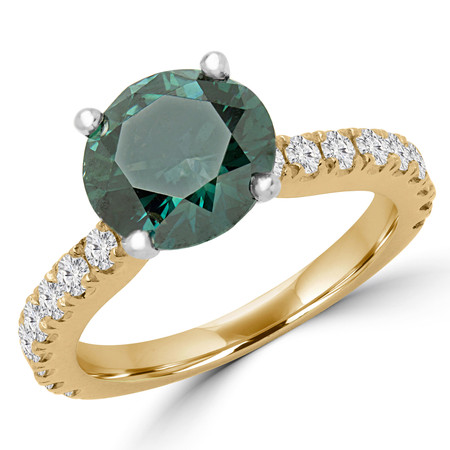 Round Cut Green Diamond Multi-Stone 4-Prong Engagement Ring with Round Diamond Accents in Yellow Gold - #IMAN-GREEN-Y