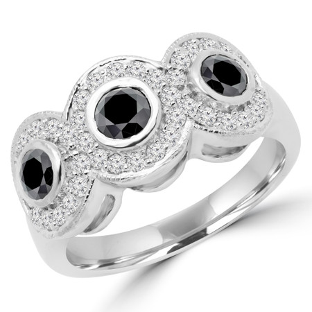 Round Cut Black Diamond Multi-Stone Bezel-Set Triple-Halo Cocktail Ring with Round Diamond Accents in White Gold - #IMP-R-F-BLK-W