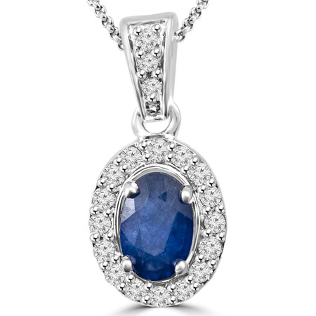 Oval Cut Blue Sapphire Multi-Stone 4-Prong Halo Pendant Necklace with Round White Diamond Accents & Chain in White Gold - #IPHH3505-OVAL-BLUE-SAPPHIRE-W