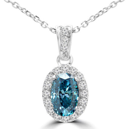 Oval Cut Blue Diamond Multi-Stone 4-Prong Halo Pendant Necklace with Round White Diamond Accents & Chain in White Gold - #IPHH3505-OVAL-BLUE-W
