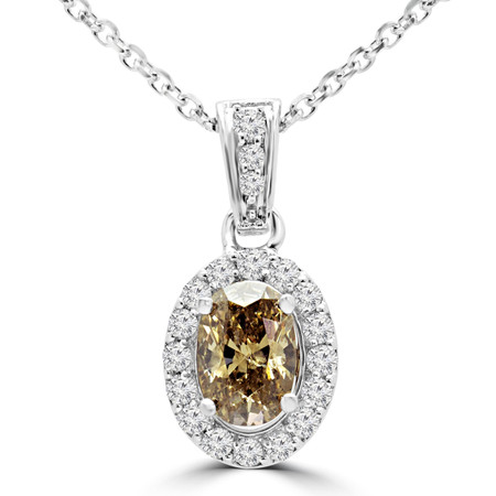 Oval Cut Champagne Diamond Multi-Stone 4-Prong Halo Pendant Necklace with Round White Diamond Accents & Chain in White Gold - #IPHH3505-OVAL-CHM-W