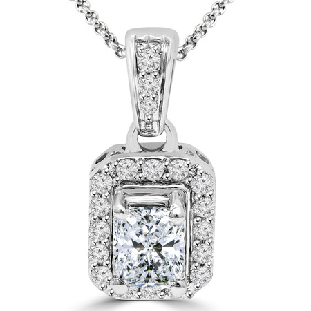 Radiant Cut Diamond Multi-Stone 4-Prong Halo Pendant Necklace with Round White Diamond Accents & Chain in White Gold - #IPHH5143-RADIANT-BLUE-W