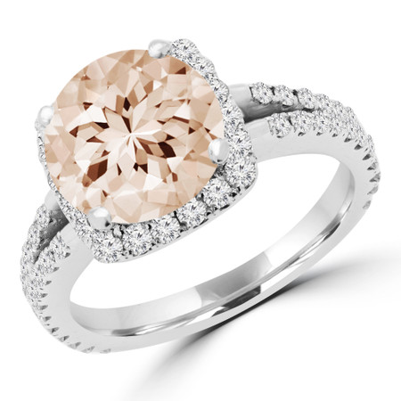 Round Cut Pink Morganite Multi-Stone 4-Prong Halo Engagement Ring with Round Diamond Accents in White Gold - #KAREN-PINK-MORGANITE-W