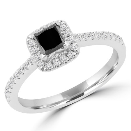 Princess Cut Black Diamond Multi-Stone 4-Prong Halo Engagement Ring with Round Diamond Accents in White Gold - #LEILA-BLK-W