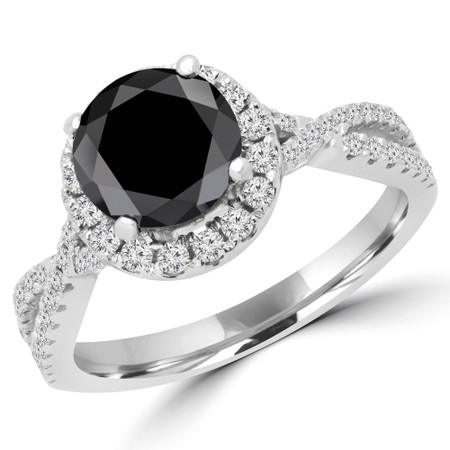 Round Cut Black Diamond Multi-Stone 4-Prong Infinity Halo Engagement Ring with Round Diamond Accents in White Gold - #LIV-BLK-W