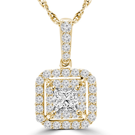 Round Cut Diamond Multi-Stone Halo Pendant Necklace With Chain in Yellow Gold - #MAJESTY-P11-Y