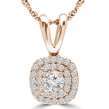 Round Cut Diamond Multi-Stone Double Halo Pendant Necklace With Chain in Rose Gold - #MAJESTY-P12-R