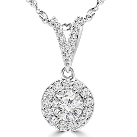 Round Cut Diamond Multi-Stone Halo Pendant Necklace With Chain in White Gold - #MAJESTY-P13-W