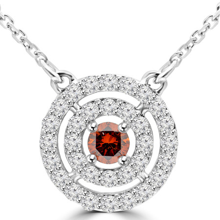 Round Cut Red Diamond Multi-Stone Double Halo Pendant Necklace With Chain in White Gold - #MAJESTY-P14-RED-W