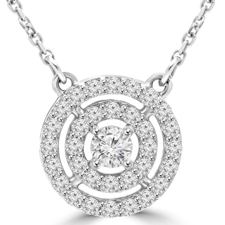 Round Cut Diamond Multi-Stone Double Halo Pendant Necklace With Chain in White Gold - #MAJESTY-P14-W
