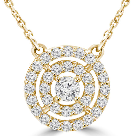 Round Cut Diamond Multi-Stone Double Halo Pendant Necklace With Chain in Yellow Gold - #MAJESTY-P14-Y