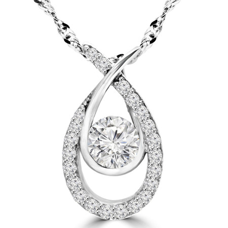 Round Cut Diamond Multi-Stone Infinity Pendant Necklace With Chain in White Gold - #MAJESTY-P15-W