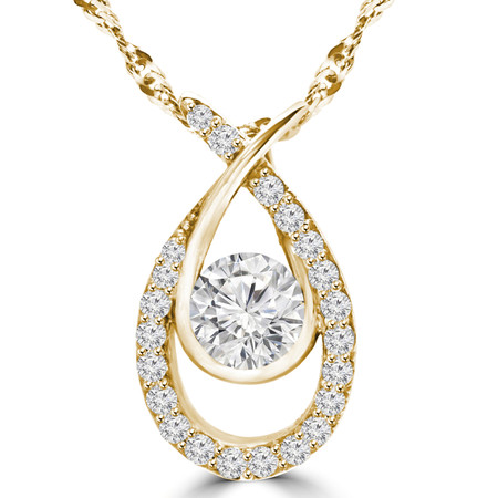 Round Cut Diamond Multi-Stone Infinity Pendant Necklace With Chain in Yellow Gold - #MAJESTY-P15-Y