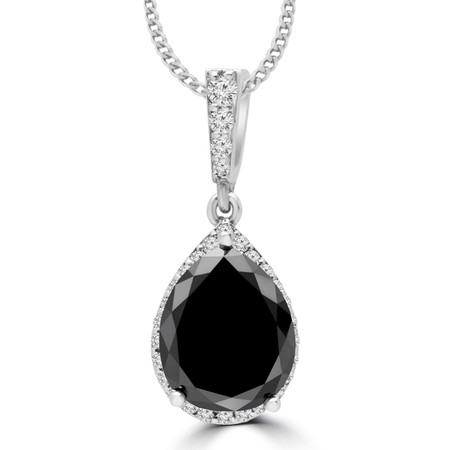 Pear Cut Black Diamond Multi-Stone Antique Vintage 3-Prong Pendant Necklace With Round Accents and Chain in White Gold - #MAJESTY-P1-BLK-W