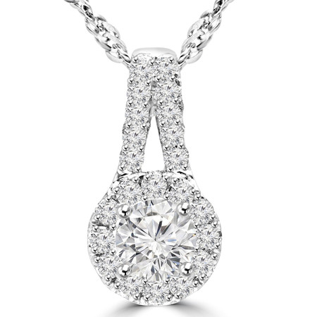 Round Cut Diamond Multi-Stone Pendant Necklace With Chain in White Gold - #MAJESTY-P8-W