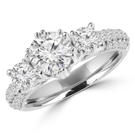Round Cut Diamond Three-Stone Double-Prong Engagement Ring with Round Diamond Accents in White Gold - #MD-0004-W