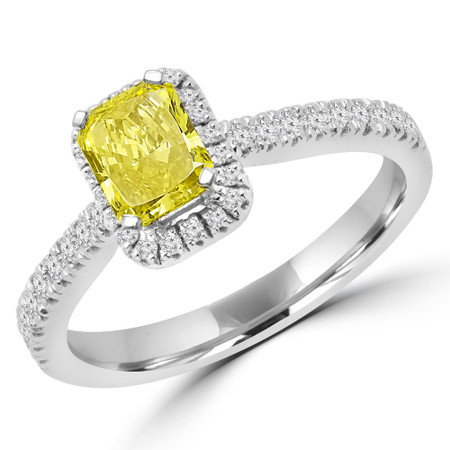 Radiant Cut Yellow Diamond Multi-Stone 4-Prong Halo Engagement Ring in White Gold - #MIA-RAD-YEL-W