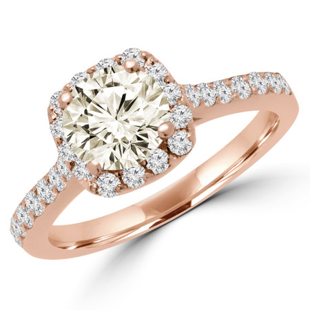 Round Cut Champagne Diamond Multi-Stone 4-Prong Halo Engagement Ring in Rose Gold - #MILLA-CHM-R