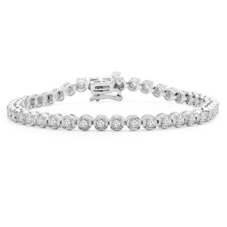 Round Cut Diamond Fashion Tennis Bracelet in White Gold - #MIR-B70-W