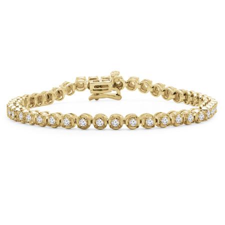 Round Cut Diamond Fashion Tennis Bracelet in Yellow Gold - #MIR-B70-Y