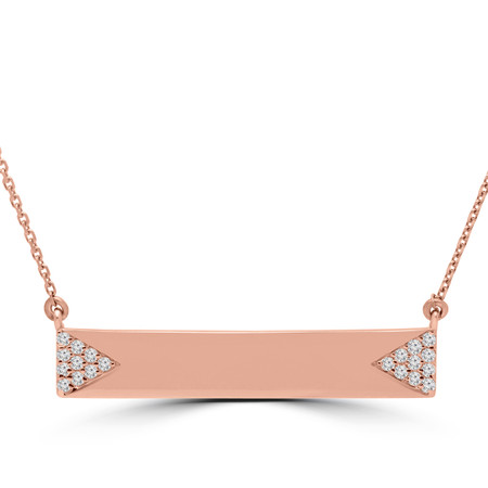Nameplate Pendant Necklace with Chain in Rose Gold - #NAMEPLATE-R