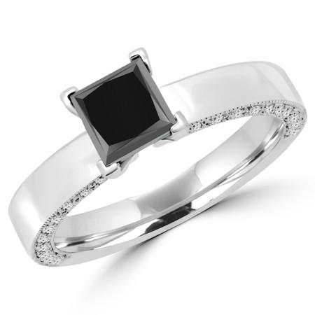 Princess Cut Black Diamond Multi-Stone 4-Prong Engagement Ring in White Gold - #NATALIA-PR-BLK-W