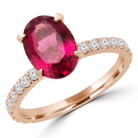 Oval Cut Pink Tourmaline Multi Stone 4-Prong Engagement Ring with Diamond Accents in Rose Gold - #NATTY-OV-PINK-TOUR-R