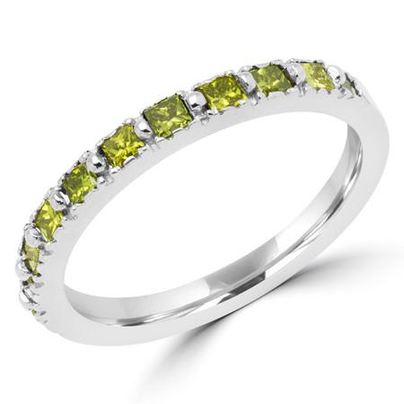 Round Cut Yellow Diamond Multi-Stone Shared-Prong Wedding Band Ring in White Gold - #NOVOBAND-YELLOW-W