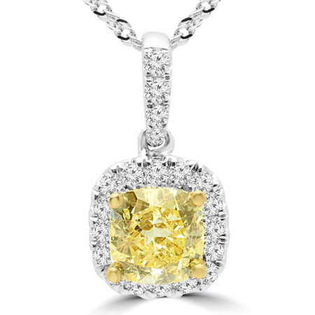 Cushion Cut Yellow Diamond Multi-Stone Halo Pendant Necklace With Chain in White Gold - #P-8440-CU-YELLOW-W