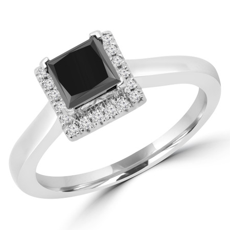 Princess Cut Black Diamond Multi-Stone 4-Prong Halo Engagement Ring in White Gold - #PATTY-BLK-W