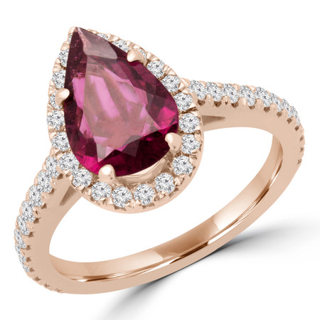 Pear Cut Pink Tourmaline Gemstone Multi-Stone 4-Prong Halo Engagement Ring with Round White Diamond Accents in Rose Gold - #PEARY-R