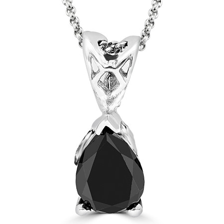 Pear Cut Black Diamond Solitaire Pendant Necklace with Chain in White Gold - #PPF2-PEAR-BLACK-W