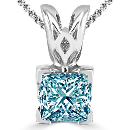 Princess Cut Blue Diamond Solitaire V-Prong Pendant Necklace with Chain in White Gold - #PSF-BLUE-W