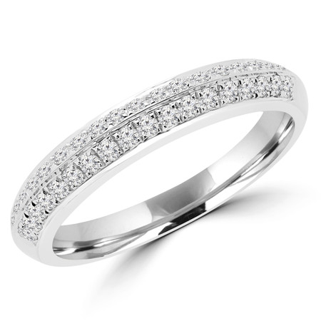 Round Cut Diamond Multi-Stone Two-Row Shared-Prong Wedding Band Ring in White Gold - #R00345-W