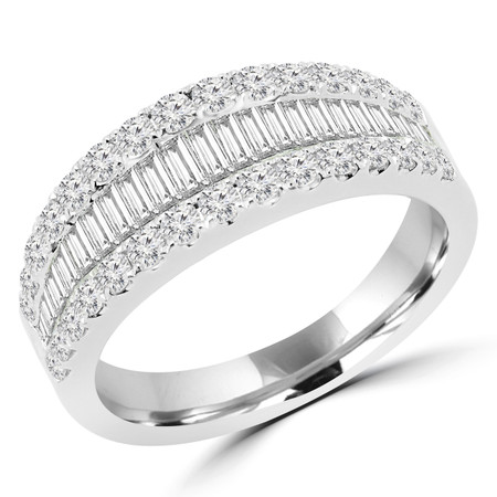 Round Cut Diamond Multi-Stone Two-Row Shared-Prong Wedding Band Ring in White Gold - #R01189-W
