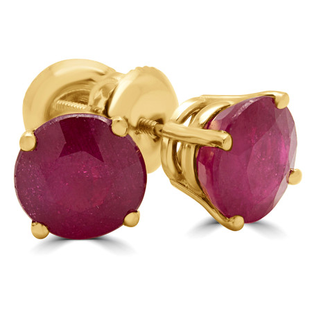 Round Cut Treated Red Ruby Solitaire 4-Prong Stud Earrings with Screwbacks in Yellow Gold - #R418-RED-RUBY-Y