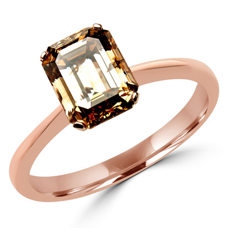 Emerald Cut Brown Smoky Topaz Solitaire 4-Prong Engagement Ring in Rose Gold - #SEC2505-EM-BROWN-TOPAZ-R
