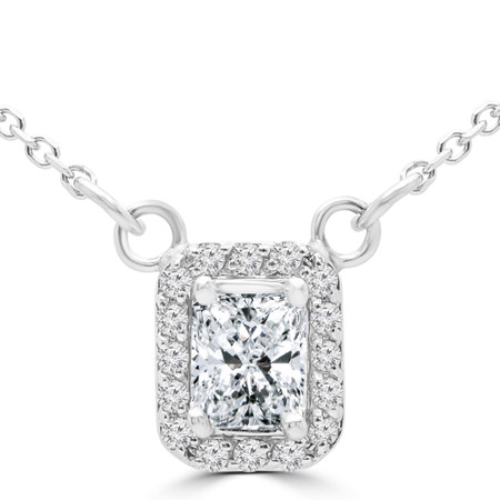 Radiant Cut Diamond Multi-Stone 4-Prong Halo Pendant Necklace with Round White Diamond Accents & Chain in White Gold - #SINGLESTUD-RADIANT-W