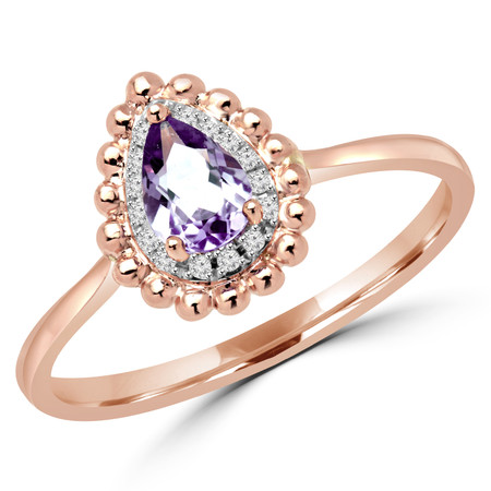 Pear Cut Purple Amethyst Gemstone Multi-Stone 4-Prong Halo Engagement Ring with Round White Diamond Accents in Rose Gold - #SKD2111991-R