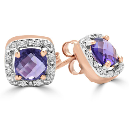Cushion Cut Purple Amethyst Multi-Stone 4-Prong Halo Stud Earrings with Round White Diamond Accents in Rose Gold - #SKE15602-CUSHION-PURPLE-AMETHYST-R